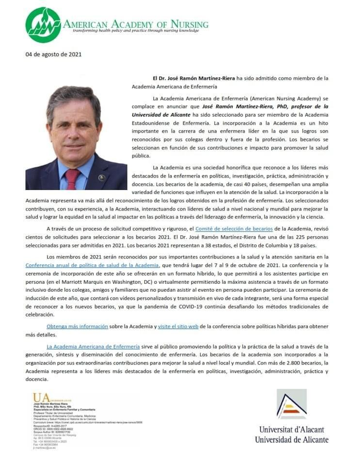 Nombramiento José Ramóm Martínez como miembro de la  American Academy of Nursing